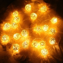 4.5V String Lights Funlife Wedding Party 20pcs Ball Light Thailand Style Hand White Weaved Rattan String Ball Lantern Xmas 2.2m