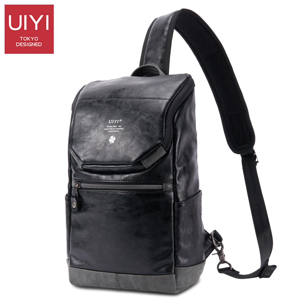 UIYI Male PVC casual shoulder bag Black chest bag for Men Shoulder &amp; Crossbody Bags Soft Waterproof male package #UYX7026<br>