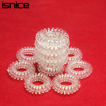 isnice 12pcs Transparent Popular hairwear candy-colored telephone wire hair band hair rope wholesale hair accessories for women(China)