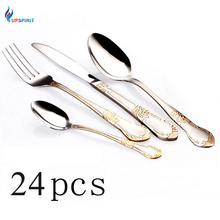 Upspirit 24pcs Gold Plated Cutlery Set Dinner Knives Fork Set Stainless Steel Novelty Flatware Dinnerware Tableware Dinner Set(China)