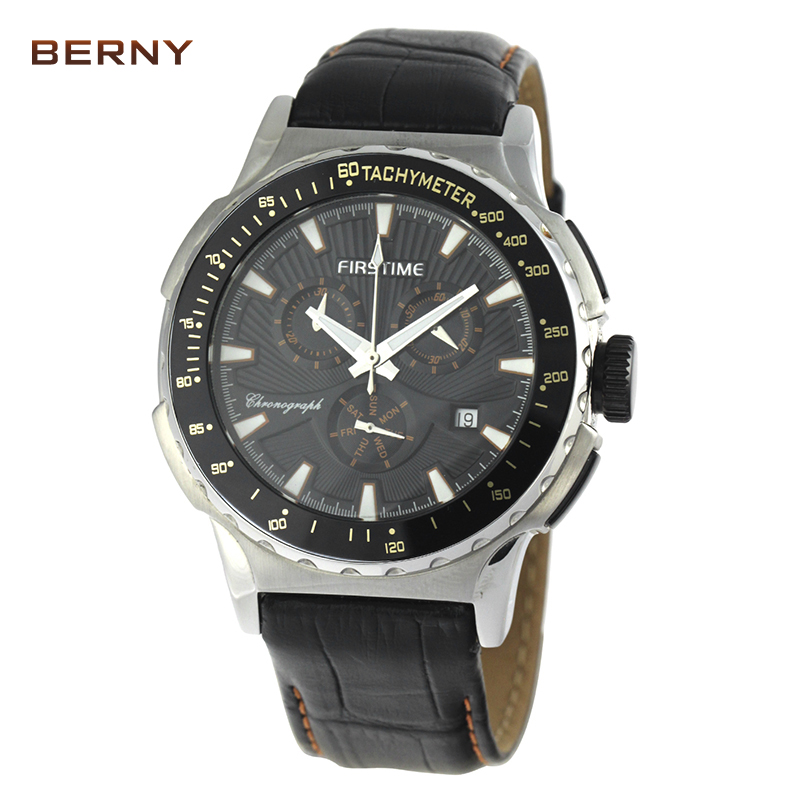 BERNY Role Luxury Watch Men 2017 Free Shipping Date Genuine Leather Multifunction Mens Sports Watches Chronometer Quartz Watches