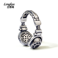 Free shipping male 925 silver pinky ring headset pattern opening ring adjustable girls boys personality cool accessories