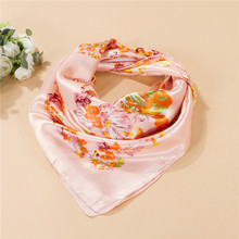 Luxury Brand Satin Scarf Fashion Cashew Flower Handkerchief 90x90cm Small Square Shawl Sun Block Summer Scarves Rose Red