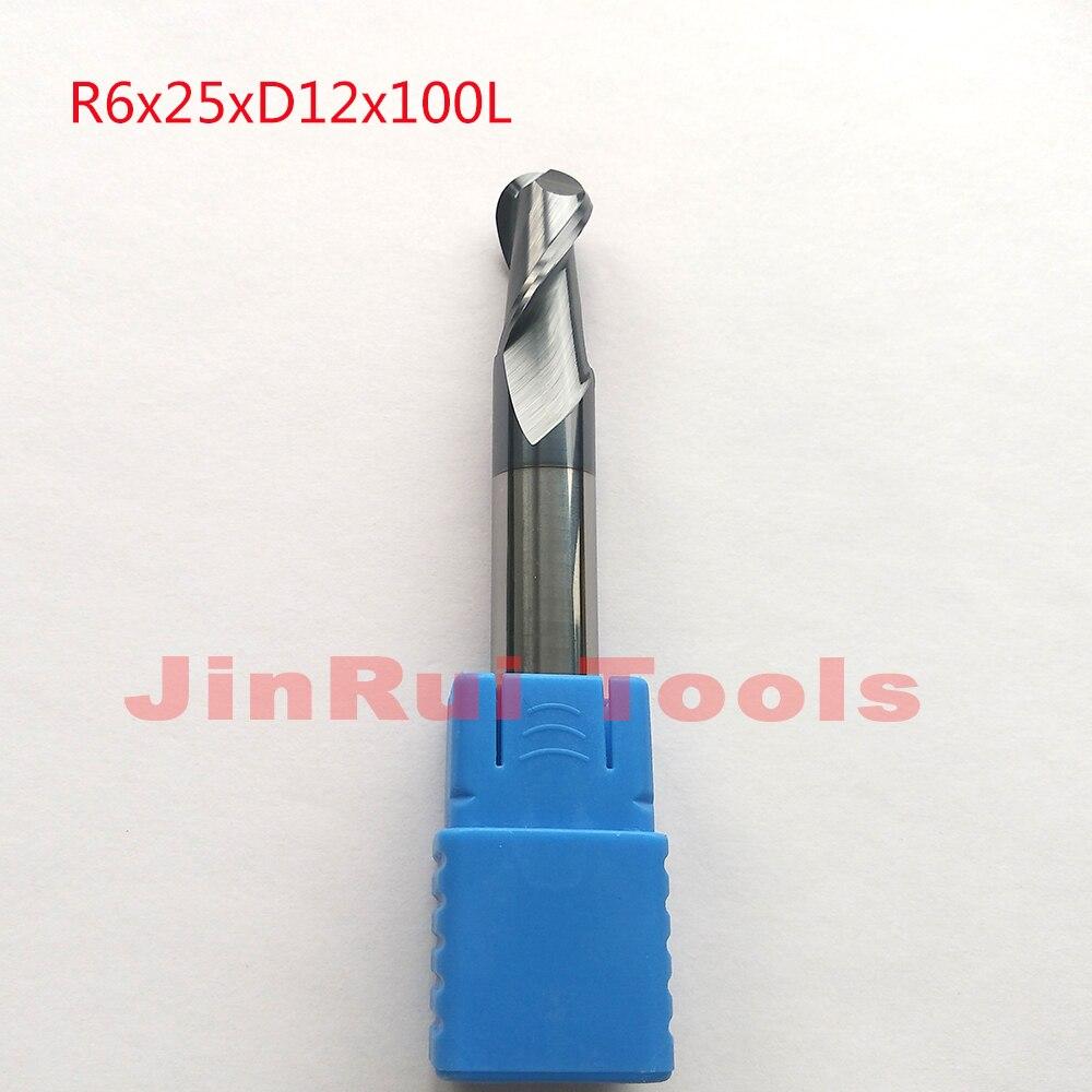 1pc R6*25*D12*100L-HRC55 2 Flutes  solid carbide   Ball Nose End Mills CNC router bit milling cutters knife fresa ferramentas<br>