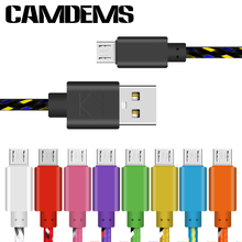 CAMDEMS NEW 1M/2M/3M braided nylon wire micro USB cable charger Durable cords for samsung galaxy S6 S4 for android mobile phone