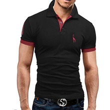 Mens Polo Shirt Brands 2017 Male Short Sleeve Fashion Casual Slim Deer Embroidery Printing Men Polos  XXXL T23