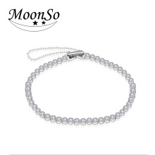 Moonso High Quality 925 Sterling Silver Bracelets Bangles AAA CZ Diamond Certified 2016 New Bracelet for Women LS4205S