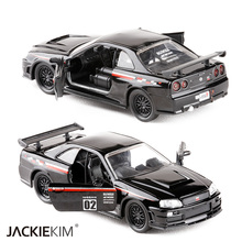 New 1:32 JADA NISSAN SKYL GT-R R34 Black Alloy Diecast Model Car Vehicle Toy For Kids Gift Collection Toys Free Shipping(China)