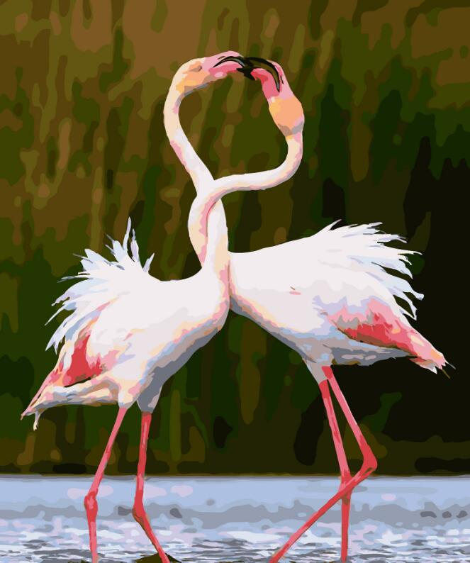 2017 New 22 styles Digital Diy oil painting by numbers Flamingo picture on canvas oil paint coloring by number drawing x38 28