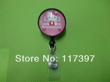 10pcs /Lot Cute Hello Kitty Retractable Badge Reel Security ID Card Holder with Anti-Lost Clip (Swivel Metal Clip)(China)