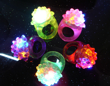 Ailin Light-Up Toys Strawberry neon finger rings strawberry silica soft flash ring finger led light 12pcs(China)