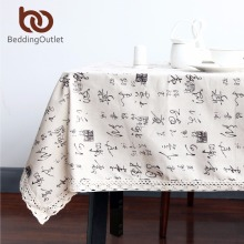 BeddingOutlet Chinese Character Tablecloth Dining Table Cloth Cotton Linen Multi Sizes Lacy Table Cover Macrame Home Decoration
