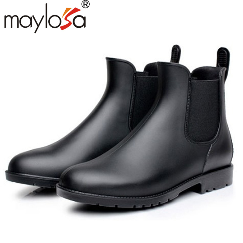 Fashion Rain Boots Pointed Toe Women Rubber Boots Slip On Ankle Boots Casual Platform Rainboots Shoes Woman<br><br>Aliexpress