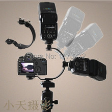 C-shaped Bracket C-shaped Hot Shoe Mount Bracket with Two Adjustable Flash Hotshoes for Digital Camera and Camcorder