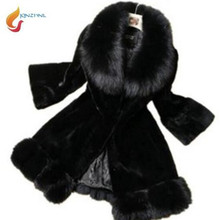 Buy New Fashion Women Faux Fur Coat Fox Fur Collar Medium length Slim Thick Warm Winter Coat Jacket Women High OuterwearG356 for $56.60 in AliExpress store