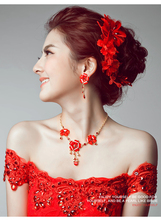 Women Lady Bridal Jewelry Tiara Set Wedding Accessories Chinese Korean Classic Red
