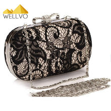Wellvo Ladies Clutch Bags Women Lace Hand Bag Chain Flower Dinner Purse Party Wallets Wedding Evening Handbag Bolsas mujer XA401