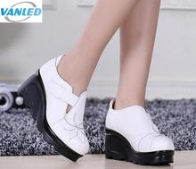 High quality genuine leather shoes women's shoes high heels 2017 national wind ladies casual shoes wedges women high heel shoes