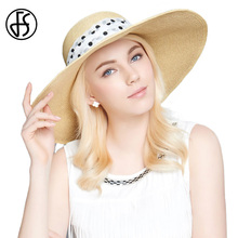 FS 2017 Summer Big Straw Hat Women Wide Large Brim Floppy Sun Hats With Ribbon Bowknot Beach Sombrero UV Visor(China)