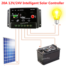 Intelligent 20A Solar Charge Controller PWM Battery Regulator 12V/24V Auto Switch Safe Protection for Solar Panel Kit Light Lamp