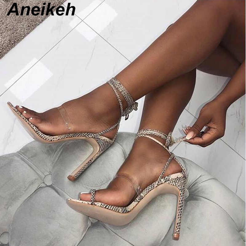 Detail Feedback Questions about Aneikeh Summer Sandals 2018 Sexy Women  Cross Strap Lace Up Open Toe Leopard Stiletto Heels High Heel Party Shoes  Size 35 40 ... 13875ea15842