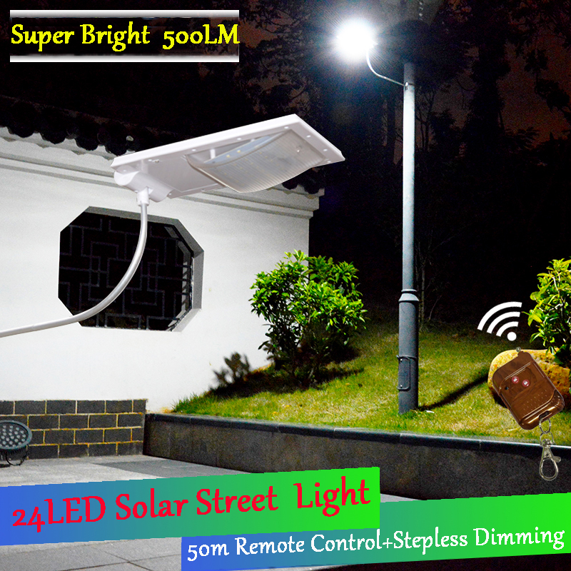 Newest 500LM 24 LED Solar Power Street Light with Remote Control Light Street Security Lamp Outdoor Waterproof Wall Lights<br>