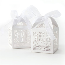 NEW Laser Cut Wedding Sweets Love Bird Wedding Favor Candy Gifts Box For Celebrations Candies Collections Party Supplies