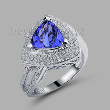 Trillion Tanzanite Ring 14K White Gold Tanzanite And Diamond Engagement Ring, Natural Gemstone Jewelry RL08