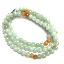 Natural Green Yellow Natural A Jade Jadeite Beads Necklace Mother Jewerly 20 Inches Jewelry Gift Gemstone Wholesale(China)