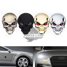 Universal Fit Car Styling Zinc Alloy 3D Skull Logo Emblem Badge Decal Symbol Sticker For Motorcycle Car Dodge Ford Free Shipping