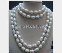 "YH@CS >>>huge 12-14mm Australian AAA south sea white baroque pearl necklace 60""inch NEW-"