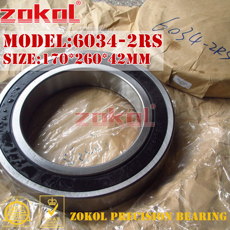 ZOKOL 6034RS bearing 6034 2RS 180134 6034-2RS Deep Groove ball bearing 170*260*42mm<br>