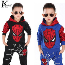 2017 Marvel Comic Classic Spiderman Set Children Costume Sports Suit 2 Pcs Tracksuits For Boys Clothing Sets Coat+Pant 3-7 Years(China)