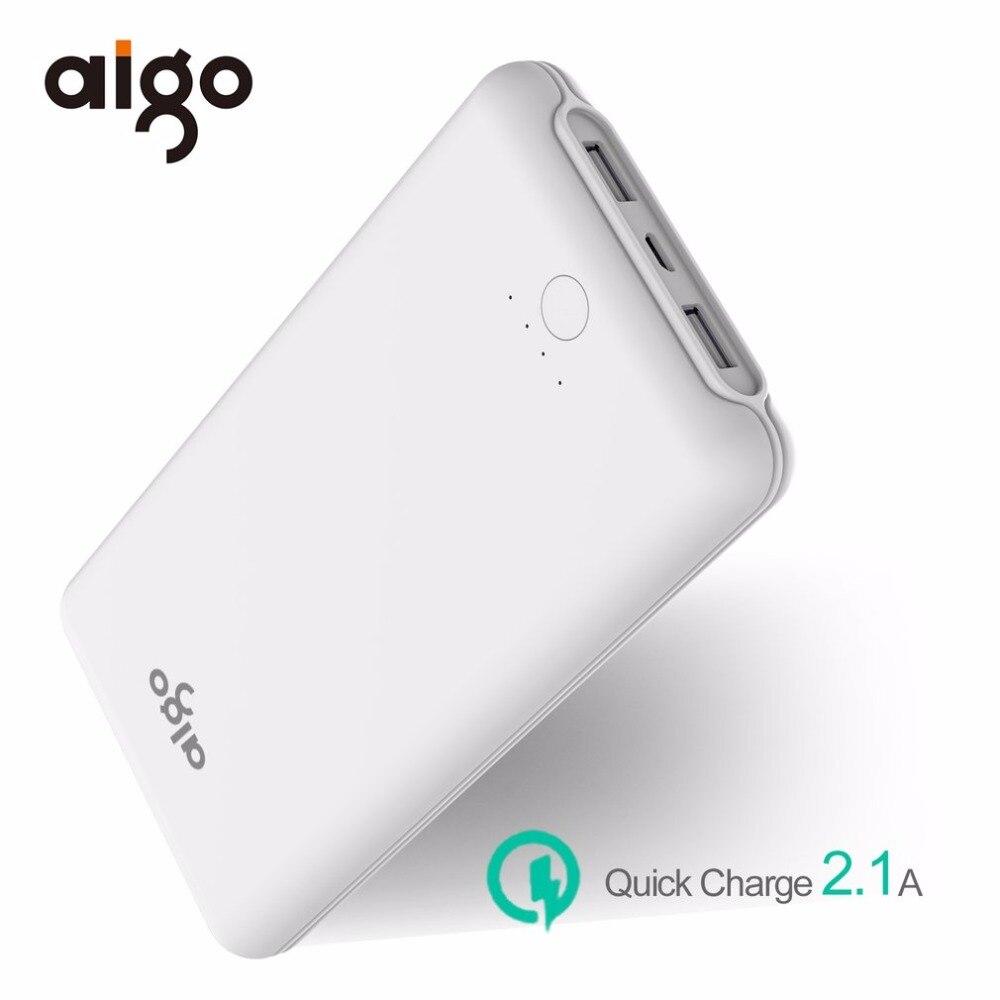 Aigo 20000mAh Portable Power Bank Dual USB Input Charging Port Charger Large Capacity Mobile Backup Battery