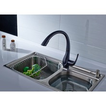 FLG Spring Style Kitchen Sink Faucet Mixer Pull Out Single Handle Deck Cold Water Tap Black Brass Sink Tap,Free Shipping Mixer