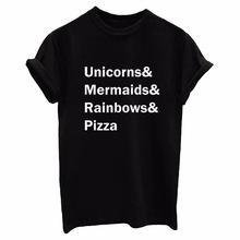 Unicorns Mermaids Rainbows Pizza Print Women tshirt Cotton Casual Funny t shirts For Lady Top Tee Hipster Drop Ship Tumblr S