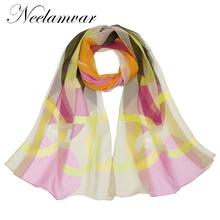 Neelamvar 2017 new scarf Autumn and Winter colorful circle print scarves women smooth oblong silk georgette scarf long shawls(China)