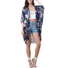 Fashion Women Summer Blouse Beach Boho Kimono Cardigan Floral Printed Half Sleeve Casual Loose Long Beach Blouses For Women(China)