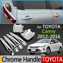For Toyota Camry XV50 2012-2017 Luxurious Chrome Door Handle Covers Accessories Stickers Car Styling 2013 2014 2015 2016 Aurion