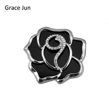 3 Colors Choose Big Rose Flower Brooches Black Acrylic Material Brooches and Pins Fashion Jewelry Lady's Brooches High Quality(China)