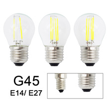 Retro G45 LED 2W 4W 6W Dimmable Filament Light Bulb E27 E14 COB 220V Glass shell Vintage Style Lamp(China)