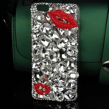 Fashion Kiss Crystal Cover Bling Cell Phone Case for Iphone 7 7 Plus 6 6s Plus 4 4s 5 5s Diamond Rhinestone Mobile Phone Cases