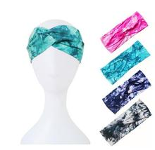 1pcs Tie Dye Printing Twist Stretch Elastic Women Headband Hair Accessories Turban Headwear Bandage Hair Band Bandana