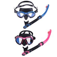 Underwater Scuba Anti Fog Plating Snorkeling Silicone Underwater All Dry Breathing Tube Diving Mask(China)
