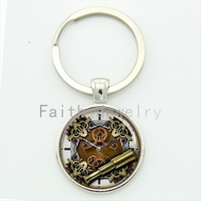 Steampunk clock movement keychain classic machines golden gears personalized steam punk gear key chain jewelry KC290(China)