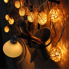 Hot sale 1set/20pcs Beautiful Romantic Decorative Warm White LED Rattan Ball String Light Wholesale