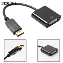BESIUNI Displayport DP male to DVI Female Adapter Video Display Port Cable Converter for PC Laptop Black(China)