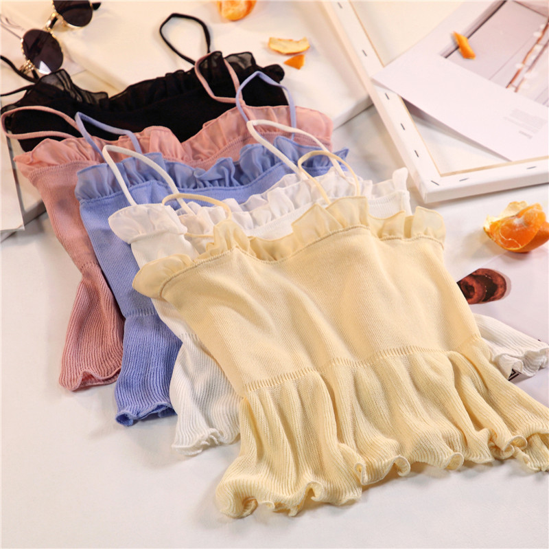 Women Fashion Knitting Patchwork Chiffon Ruffles Neck Cropped Tanks Tops Girls Knitted Tee shirts Camis crop Tops Female 3