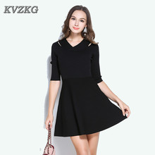 Heat Buy New 2017 Autumn Fashion Collage Stitching In Sleeves V Collar Irregular Viscose Black Women's Dress Sweet Vestidos(China)