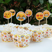 48pcs cartoon Anime Emoji cupcake wrapper topper decoration kids birthday party supplies cupcake cases liner(China)